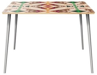 World Menagerie Reinhold Dining Table Table Top Color: Natural, Table Base Color: Chrome