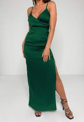 Missguided Green Satin Cami Wrap Maxi Dress