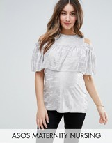 ASOS Maternity - Nursing ASOS Maternity NURSING Metallic Cold Shoulder Top