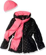 Pink Platinum Little Girl's Foil Star Puffer With Hat AND Scarf Outerwear