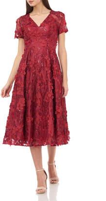 Carmen Marc Valvo V-Neck Short-Sleeve 3D Petal Embellished Midi Dress