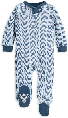 Burt's Bees Baby Watercolor Chevron Organic Cotton Zip Front Loose Fit Footed Pajamas