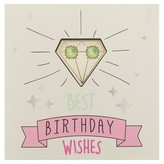 """Charlotte Women's Greeting Card and Earring Set """"Best Birthday Wishes"""""""