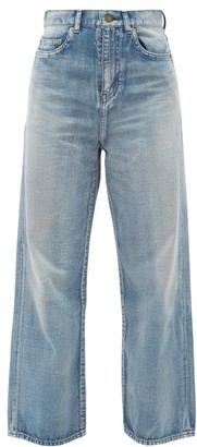 Saint Laurent Cropped-wide Leg Cotton Jeans - Denim