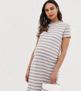 Mama Licious Mamalicious stripe high neck midi t-shirt dress