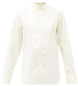 Umit Benan B+ - Winged-collar Front-bib Cotton-poplin Shirt - White