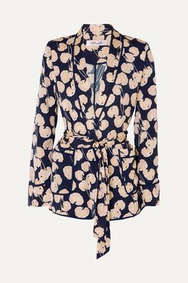 Diane von Furstenberg Braelyn Printed Crepe Jacket - Navy