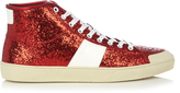 Saint Laurent Glitter high-top leather trainers