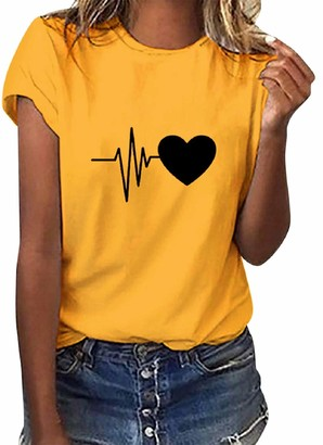 Tuopuda Women T-Shirt Short Sleeve Heart Print Blouse Shirt Round Neck Basic Loose Fit Tee Shirt Summer Casual Party Tops Yellow