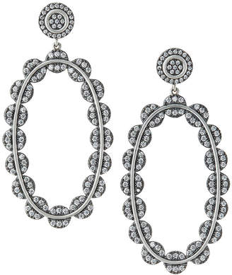 Freida Rothman Industrial Finish Large Pave Oval Drop Earrings