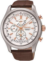 Seiko Spc129p1 Alarm Chronograph Leather Strap Watch, Brown/white