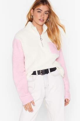 Nasty Gal Womens New Kid on the Colorblock Faux Shearling Jumper - pink - L