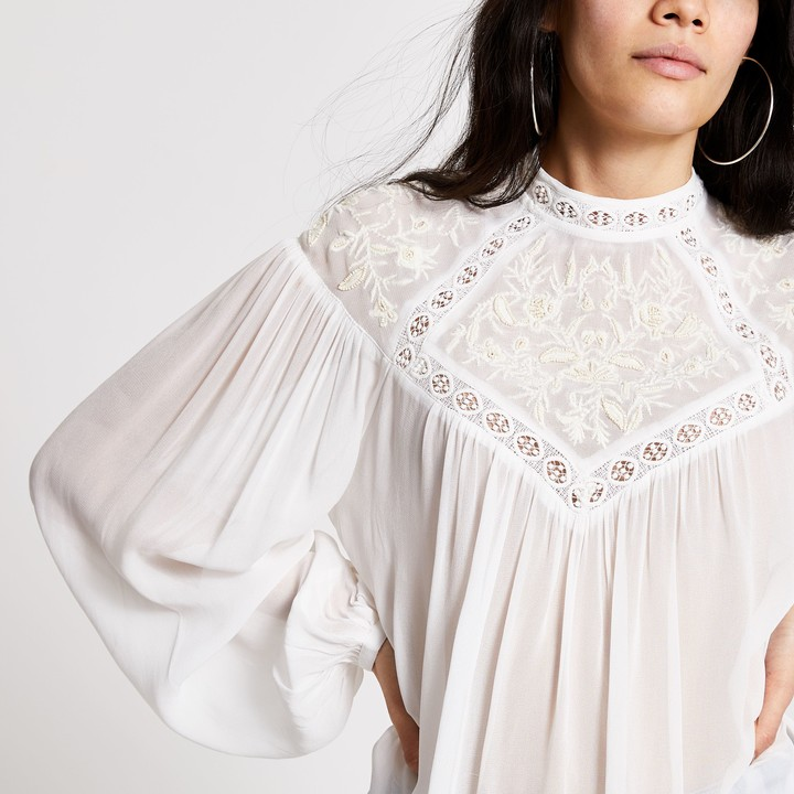 River Island Womens Cream embroidered high neck blouse