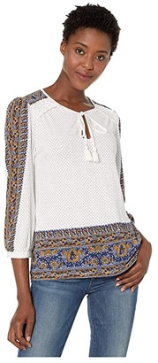 Lucky Brand Placed Printed Peasant Top (Cream Multi) Women's Clothing