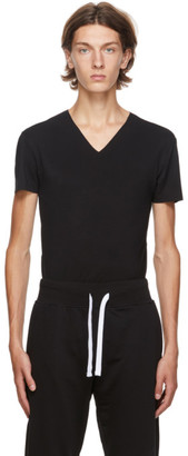 Ermenegildo Zegna Black V-Neck Seamless T-Shirt