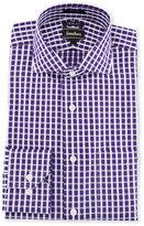 Neiman Marcus Trim-Fit Regular-Finish Grid-Print Dress Shirt, Purple