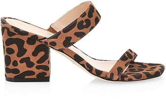 Stuart Weitzman Olive Leopard-Print Suede Mules