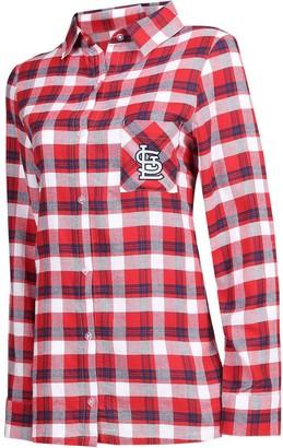 Women's Concepts Sport Red/Navy St. Louis Cardinals Plus Size Piedmont Flannel Nightshirt