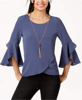 BCX Juniors' Ruffle-Sleeved Envelope-Back Top with Necklace