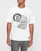 Express Brooklyn Nets Nba Pieced Logo Heavyweight T-Shirt