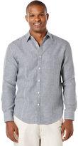 Cubavera 100% Linen Long Sleeve Front Tuck Gingham