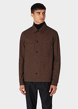 Men's Brown Check Stretch-Cotton Wadded Shirt Jacket