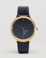 Mondaine Helvetica No1 Light Watch In Navy/Gold 38mm