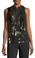 A.L.C. Tomei Sleeveless Chiffon Top w/ Metallic