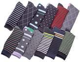 Shoebox Men's Pattern Dress Socks Cotton Blend Colorful Designes Size 10-13 (12 Pair)