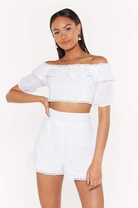 Nasty Gal Womens Take It Off-The-Shoulder Broderie Crop Top - White - 10