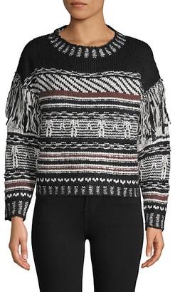 Cliche Fringe Textured Cotton-Blend Sweater