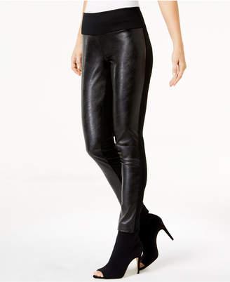 INC International Concepts Inc Petite Faux-Leather-Contrast Skinny Pants