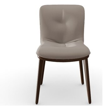 Calligaris Annie Velvet Upholstered Side Chair Upholstery Color: Sand Venice, Frame Color: Smoke Ash Wood
