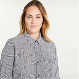 Joe Fresh Women+ Plaid Classic-Fit Shirt, White (Size 3X)
