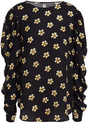 Oscar de la Renta Ruched Floral-print Silk Top