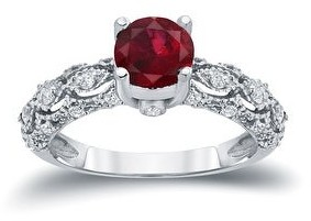 Auriya Vintage 1ct Red Ruby 1/4ctw Diamond Engagement Ring 14k Gold
