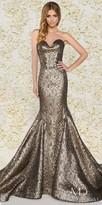 Mac Duggal Strapless Sweetheart Embossed Brocade Trumpet Evening Dress