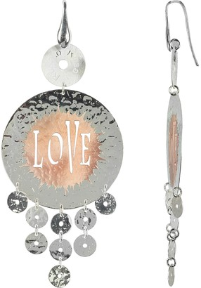 Rosato Rose Gold Tone Sterling Silver Love Round Earrings