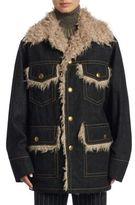 Marc Jacobs Oversize Faux Fur & Denim Coat