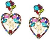 GUESS Multicolored Stone Heart Drop Earrings w/ Logo (Multi) Earring