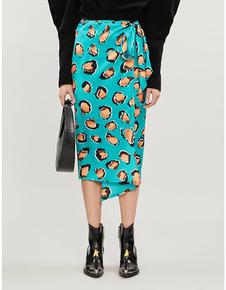 NEVER FULLY DRESSED Jaspre high-waist graphic-print satin midi skirt