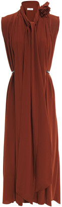 Victoria Beckham Tie-neck Embellished Silk Crepe De Chine Midi Dress