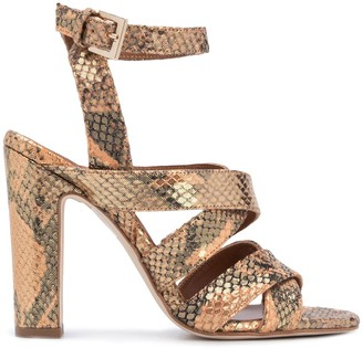 Paris Texas 110mm Snake Embossed Sandals