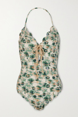 Marysia Swim Broadway Lace-up Printed Stretch-crepe Swimsuit - Ecru