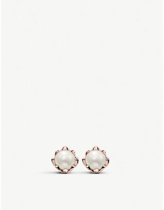 Thomas Sabo Lotus flower 18ct rose-gold, white diamond and pearl earrings
