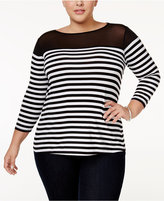 INC International Concepts Plus Size Striped Illusion Top, Only at Macy's