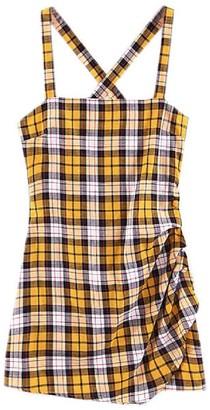 Goodnight Macaroon 'Wallis' Plaid Crossed Back Mini Dress