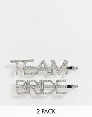 ASOS DESIGN pack of 2 team bride hair clips in silver tone