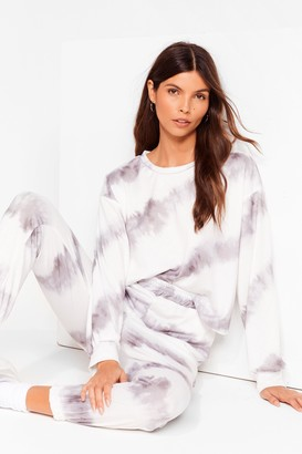 Nasty Gal Womens Time to Relax Tie Dye Joggers Lounge Set - White - S