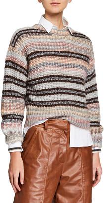 Brunello Cucinelli Sequin Striped Crewneck Sweater